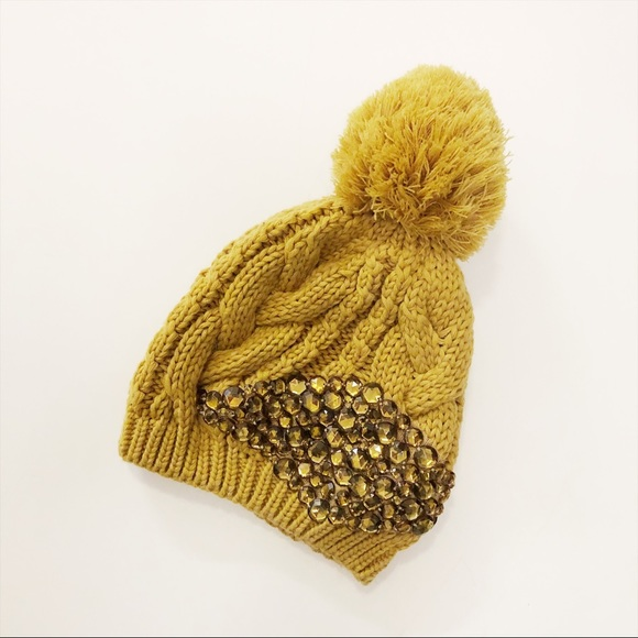 Mustard yellow pompom bejeweled hat d1fefed7b9b